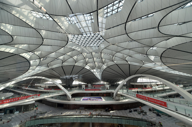 Daxing International Airport in Beijing is under construction, April. 25, 2019. Photo by Weng Qiyu from People's Daily online