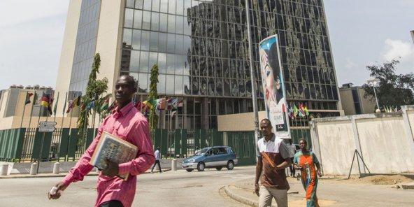 L'immeuble de la BAD à Abidjan, en Côte d'Ivoire, en mars 2016. © Jacques Torregano pour JA