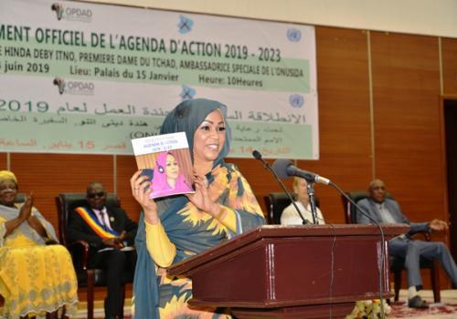 La Première Dame Hinda Déby, le 15 juin 2019 lors du lancement de son agenda d'action 2019-2023.