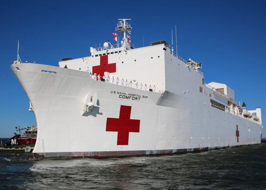 Le 14 juin, le navire-hôpital USNS Comfort quitte le port pour son déploiement en Amérique du Sud, en Amérique centrale et dans les Caraïbes. (U.S. Navy/Bill Mesta)