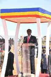 Le Président de la République, Idriss Déby, lors de son discours. 1er décembre/Moundou. Crédits photos : DGCOM/PR