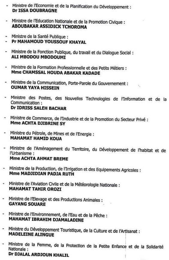 Tchad : liste du nouveau gouvernement du 11 août 2019