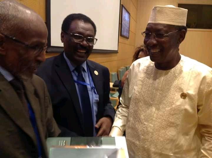Le président Idriss Déby (droite) et Mahmoud Youssouf Khayal (milieu), nouveau ministre de la Santé publique. © DR