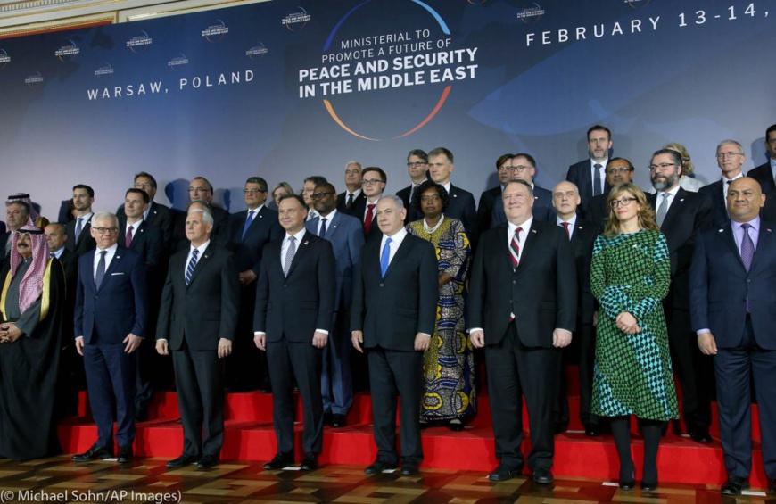 Des dirigeants de nombreux pays se sont réunis à Varsovie (Pologne) en février dernier à l'occasion d'une réunion ministérielle sur la paix et la sécurité au Moyen-Orient. (© Michael Sohn/AP Images)