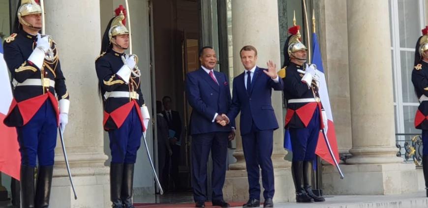 Sassou et Macron à L'Elysée.
