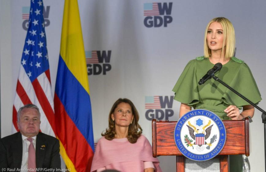 Ivanka Trump, conseillère du président, s'exprime lors d'une cérémonie en hommage aux femmes entrepreneures de Colombie, le 3 septembre. (© Raul Arboleda/AFP/Getty Images)