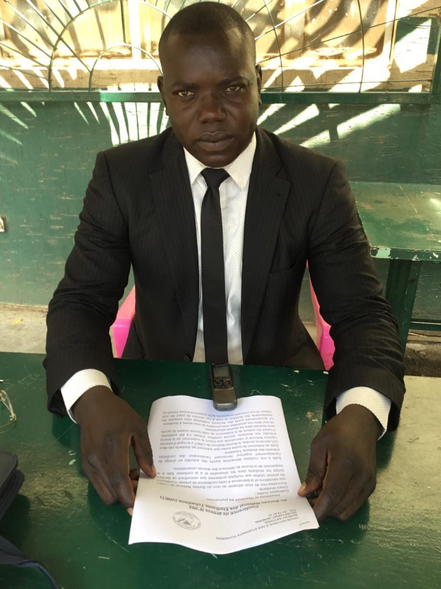 Le président national de l'Union nationale des étudiants tchadiens (UNET), Aserpe Dickreo Damos. © Alwihda Info