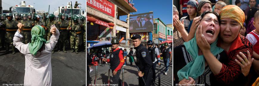 Une Ouïgoure manifeste face à un groupe de policiers paramilitaires ;  des civils armés patrouillent devant le marché à Hotan ; et des femmes   pleurent les hommes de leurs familles enlevés par le gouvernement.   (© Ng Han Guan/AP Images)