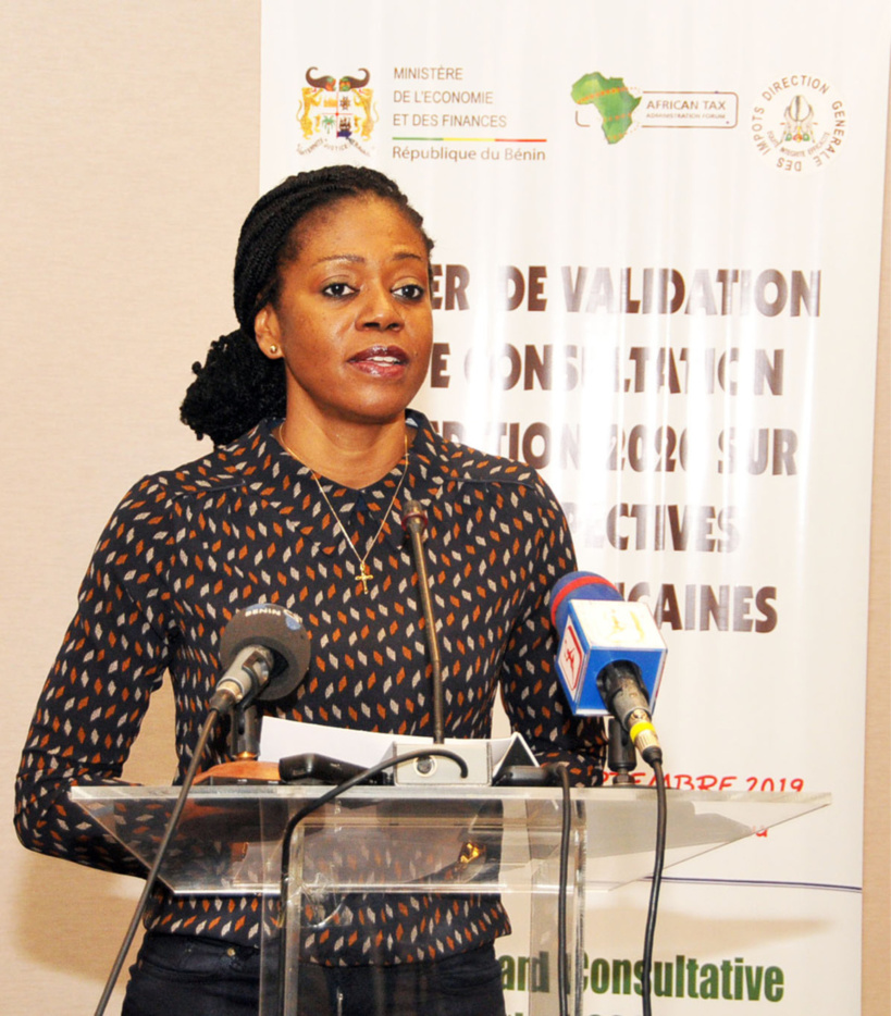 Dr Nara Monkam, ATAF's Research Director, addresses a workshop held in Benin to validate the data for the African Tax Outlook, publication.