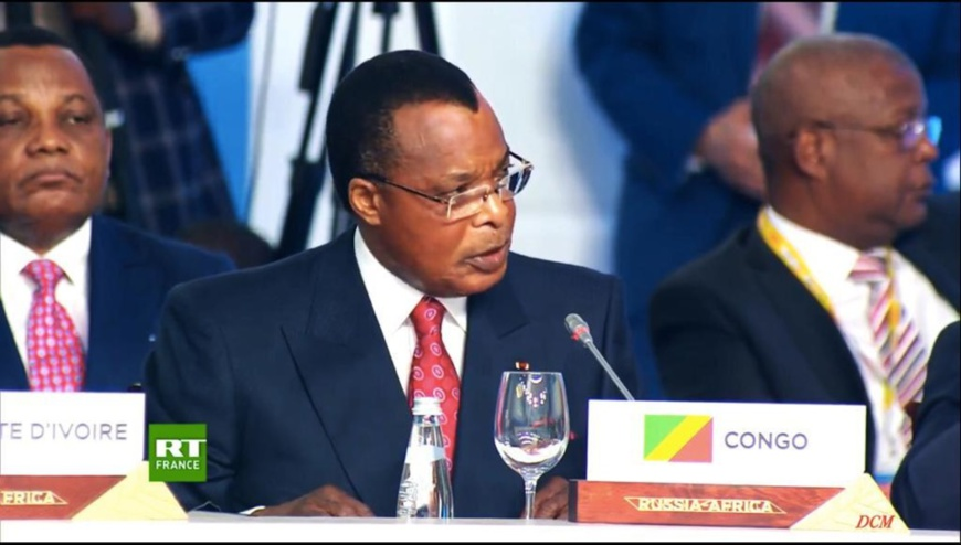 Denis Sassou N'Guesso intervenant à Sotchi.