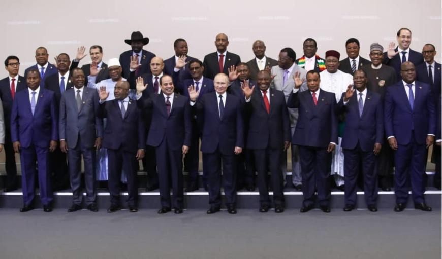 Les dirigeants africains présent à Sotchi et Vladmir Poutine.