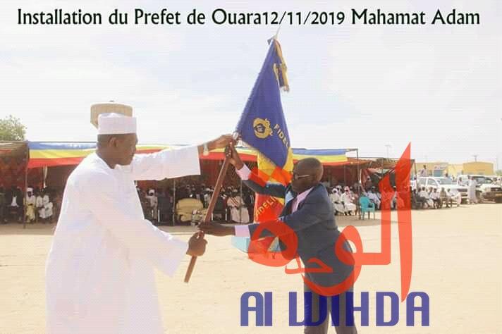 Tchad : le nouveau préfet du département de Ouara, Mahamat Adam Mahamat, installé à Abéché. © Alwihda Info