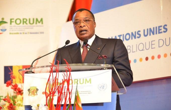 Denis Sassou N'Guesso à l'ouverture du forum. Crédits : DR