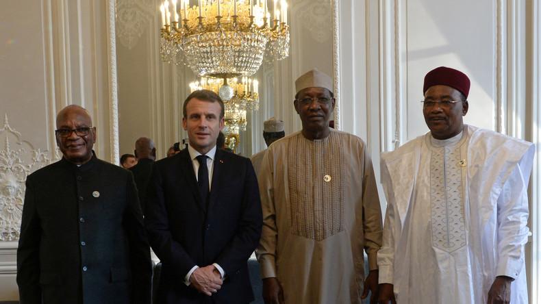 Emmanuel Macron et ses homologues nigérien, malien et tchadien à l'Elysée, en novembre 2019 (image d'illustration). © Johanna Geron/reuters. © Reuters