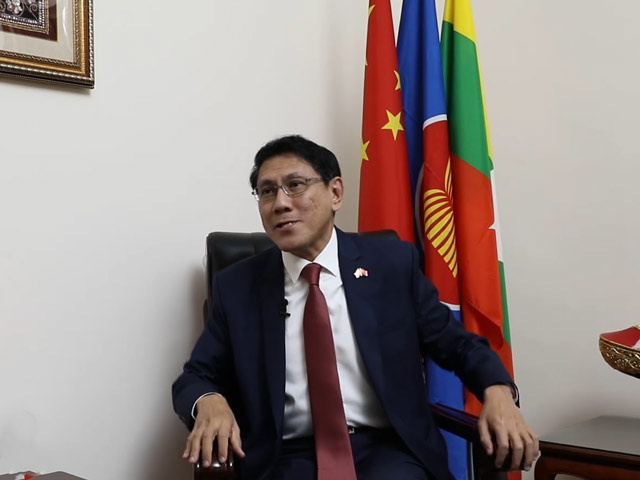 Myanmar Ambassador to China U Myo Thant Pe receives an interview from People's Daily