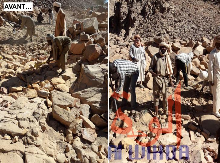 Tchad : à Bardaï, des habitants aménagent une route avec leurs bras.