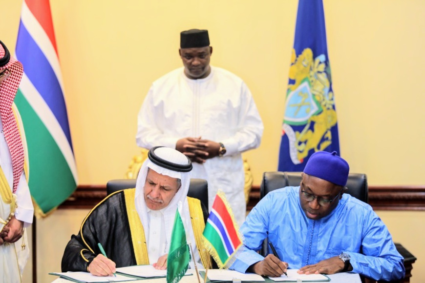 H.E. Eng. Yousef Al-Bassam, SFD Adviser signed the agreement with the Gambian Minister of Finance and Economic Affairs, Hon. Mamboury Njie (Photo : AETOSWire).
