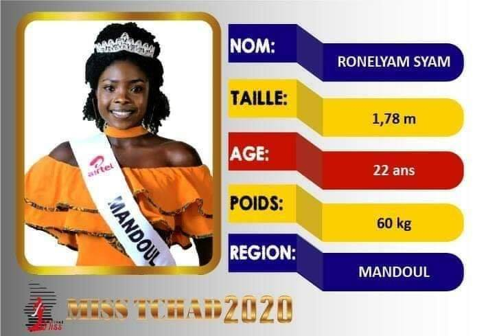 Ronelyam Syam élue Miss Tchad 2020. ©DR