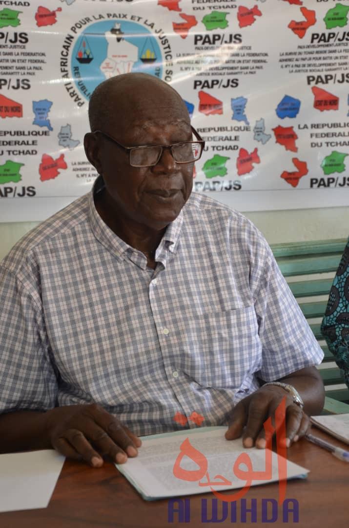 Le président du Parti africain pour la paix et la justice sociale, Neatobeye Bibi Valentin. © Golmen Ali/Alwihda Info