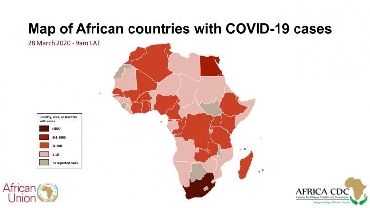 Afrique - COVID-19 : 3,924 cas, 117 morts. © CDC