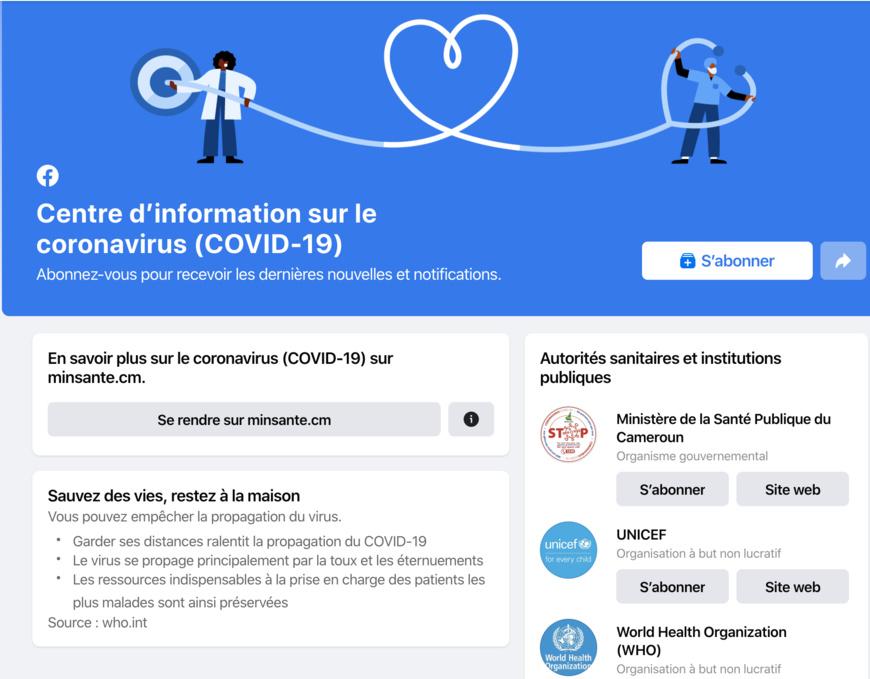 Facebook lance le Centre d'information sur le coronavirus dans 17 pays africains. © Facebook