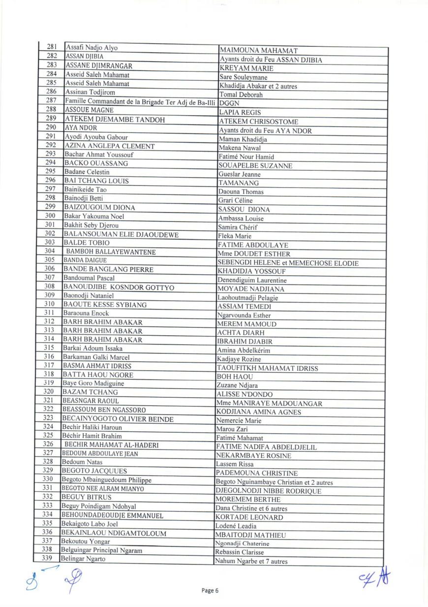 Tchad : liste des 1644 bénéficiaires des capital-décès civils et militaires