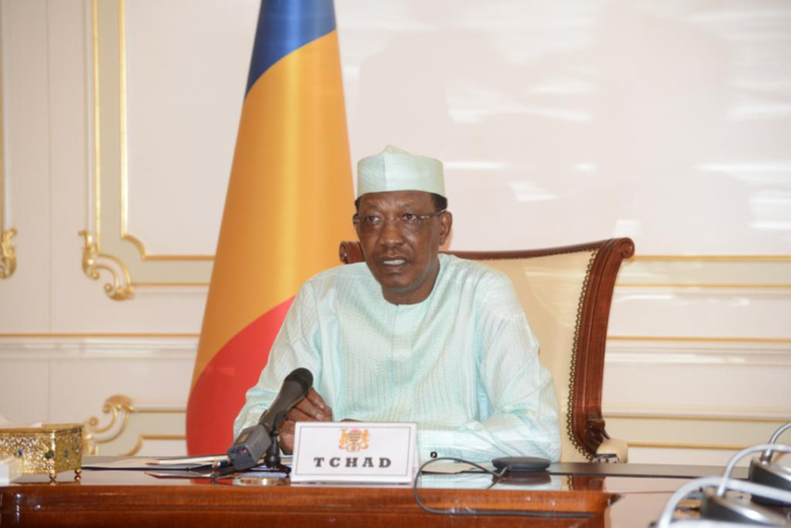Le président tchadien Idriss Déby le 28 avril 2020 lors d'une visioconférence. © PR