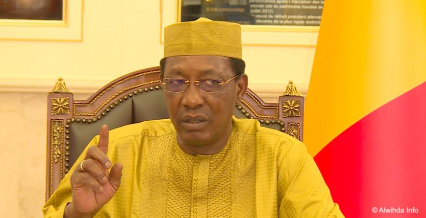 Le chef de l'État Idriss Déby lors d'une conférence de presse au Palais présidentiel. Illustration © Alwihda Info