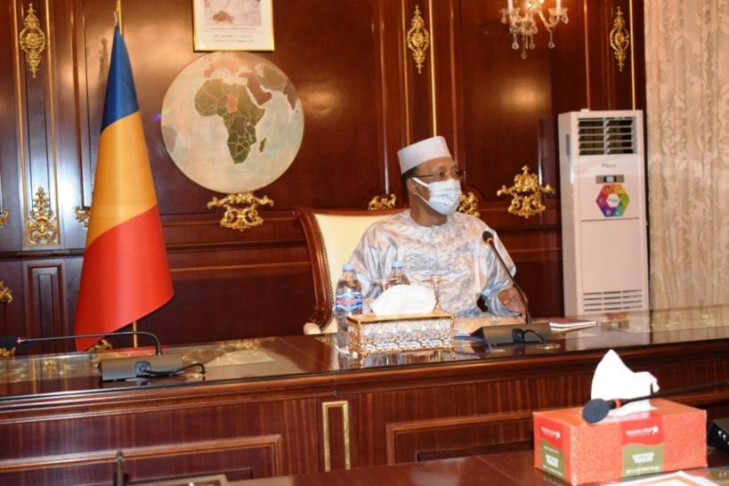 Le chef de l'État Idriss Déby le 27 mai 2020 lors d'une rencontre à la Présidence. © PR