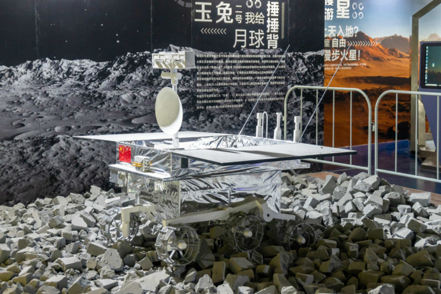 Photo shows a model of lunar rover Yutu-2 displayed at China Aerospace Art and Technology Exhibition held in Shanghai, January 19, 2020. Exhibits like models of Chang'e-4 probe and Yutu-2 as well as various interactive facilities attracted many children and parents to the exhibition. (Photo by Wang Gang/People's Daily Online)