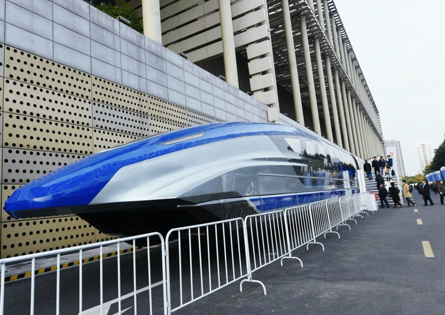 A prototype magnetic-levitation train with a designed top speed of 600 km per hour is exhibited in Hangzhou, east China's Zhejiang province, December 6, 2019. Photo by Long Wei, /People's Daily Online