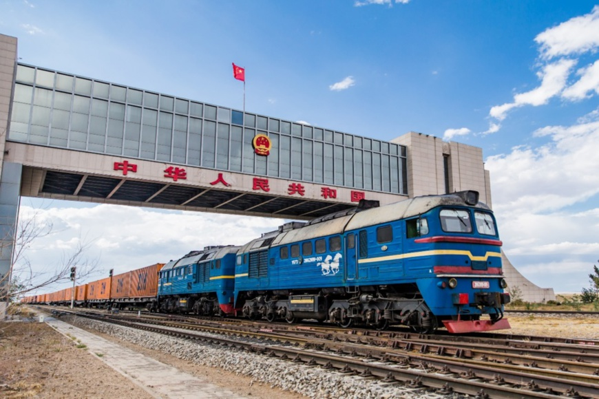 A China-Europe cargo train entering Chinese border. Photo: Guo Pengjie / People's Daily Online