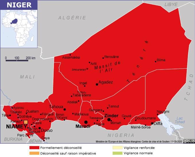 Sécurité : La France place quasiment tout le Niger en zone rouge