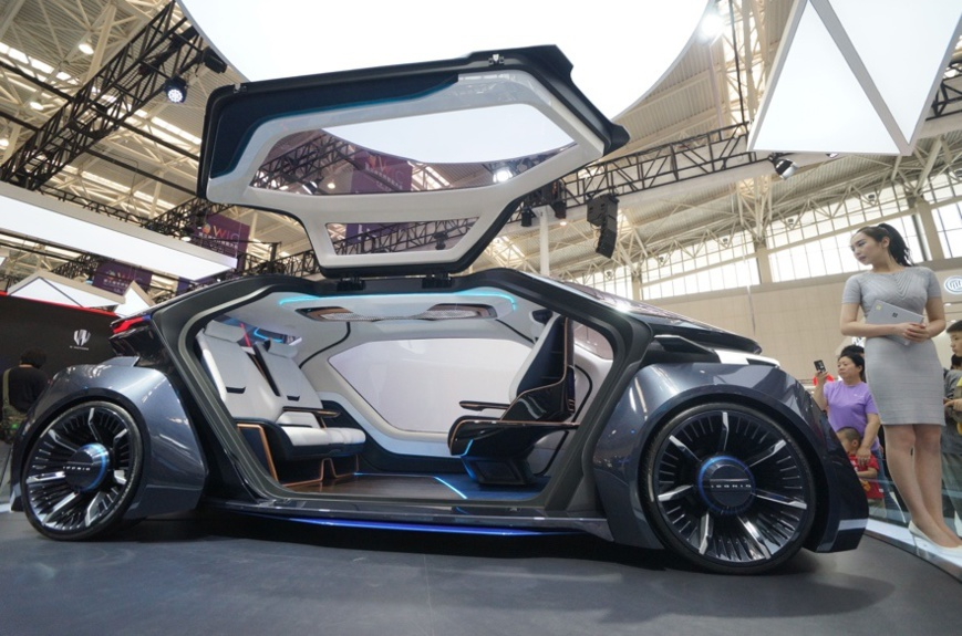 An ICONIC new energy vehicle is exhibited at the 3rd World Intelligence Congress in Tianjin, on May 18, 2019. Photo by Li Shengli/People's Daily Online