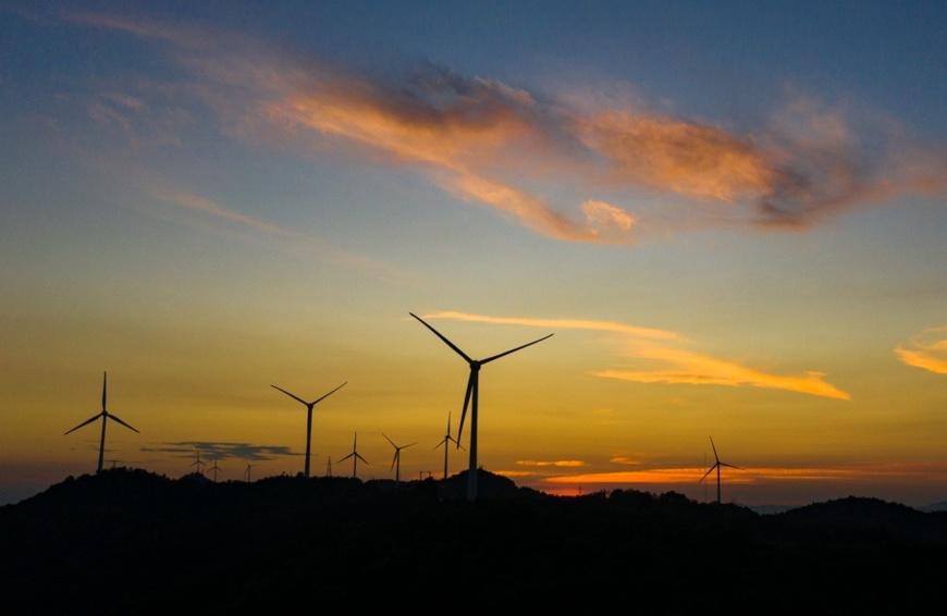 Photo taken on August 1 shows a wind farm in Jiujiang, East China's Jiangxi Province. Photo by Fu Jianbin/People's Daily Online