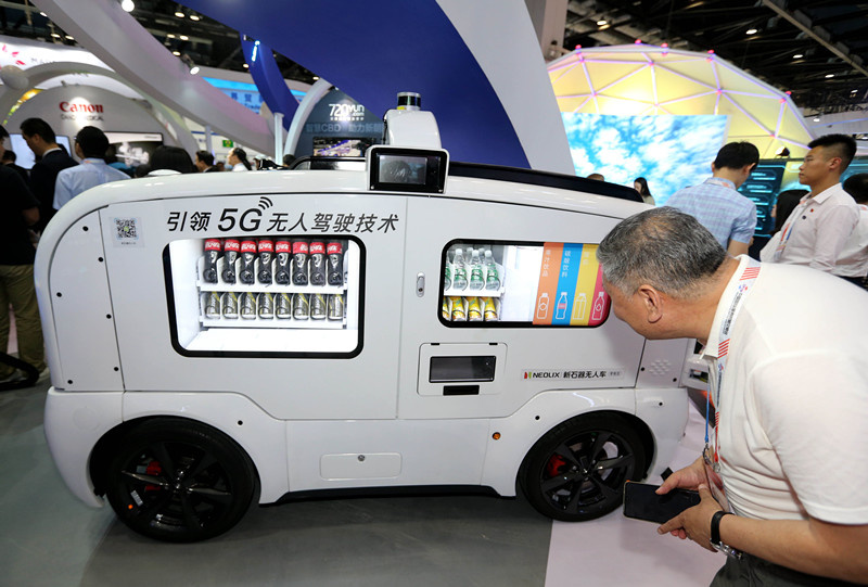 An unmanned vendor vehicle is exhibited at the China International Fair for Trade in Services, May 28, 2019. Photo by Wang Zhen/People's Daily