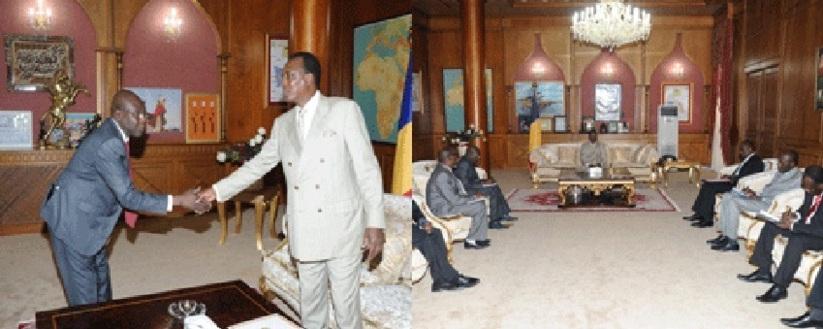 Les leaders syndicaux reçus par le chef de l'Etat, Idriss Déby. Crédits photos : Présidence de la République.