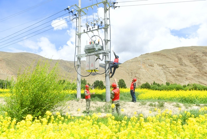 Employees of the Xiangyang branch of China's State grid in Central China's Hubei Province overhaul rural power network in Gyaimain township, Qonggyai county, Shannan of Tibet Autonomous Region on July 9. Photo by Song Weixing/People's Daily Online