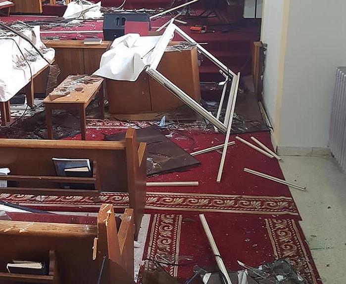 Dégâts causés à l'église adventiste de Boucherieh à Beyrouth, au Liban, après l'explosion du 4 août 2020. © Rick McEdward/MENA