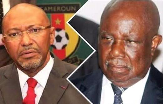 Le président de la Fecafoot, Seidou Mbombo Njoya (à gauche) et le président de la Ligue de football, le général Pierre Semengue (à droite).