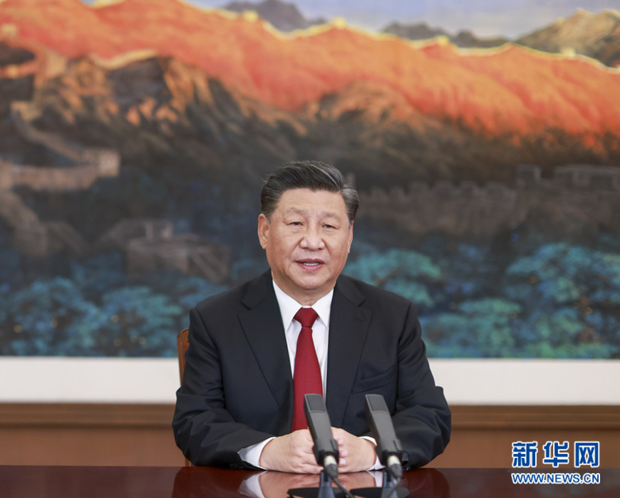 """Chinese President Xi Jinping attends the Asia-Pacific Economic Cooperation CEO Dialogues via video link in Beijing and delivers a keynote speech titled """"Fostering a New Development Paradigm and Pursuing Mutual Benefit and Win-win Cooperation,"""" Nov. 19. (Photo by Li Xueren /Xinhua News Agency)"""