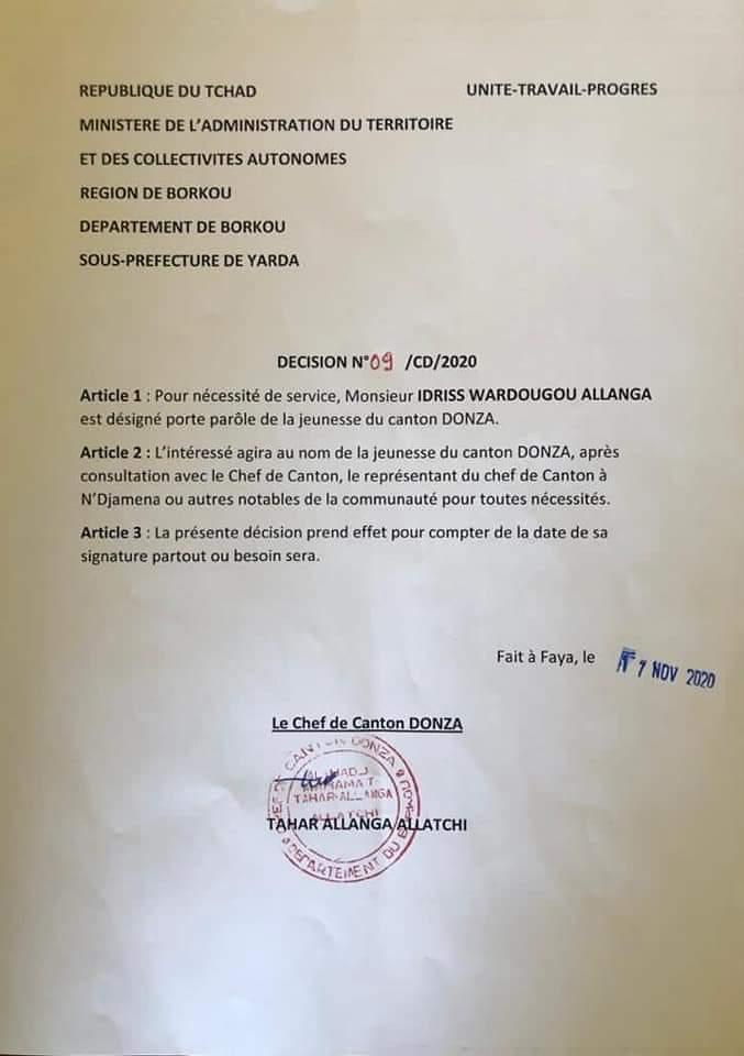 Tchad : la tribu Donza se dote d'un porte-parole pour défendre l'intérêt de sa jeunesse