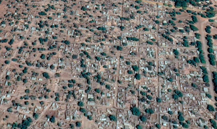 La ville de Gounou Gaya, chef-lieu du département de la Kabbia. © Google Satellite