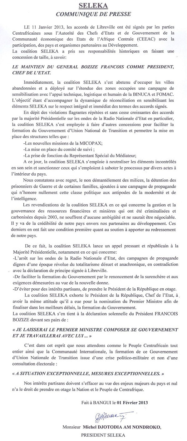 Centrafrique : La Séléka réagit aux tergiversations de Bozizé qui retarde l'annonce du gouvernement Tiangaye