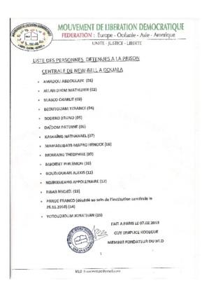 LE MOUVEMENT DE LIBERATION DEMOCRATIQUE ( M L D ) DEMANDE LA LIBERATION  DES PRISONNIERS CENTRAFRICAINS A LA PRISON CENTRALE DE NEW BELL AU CAMEROUN