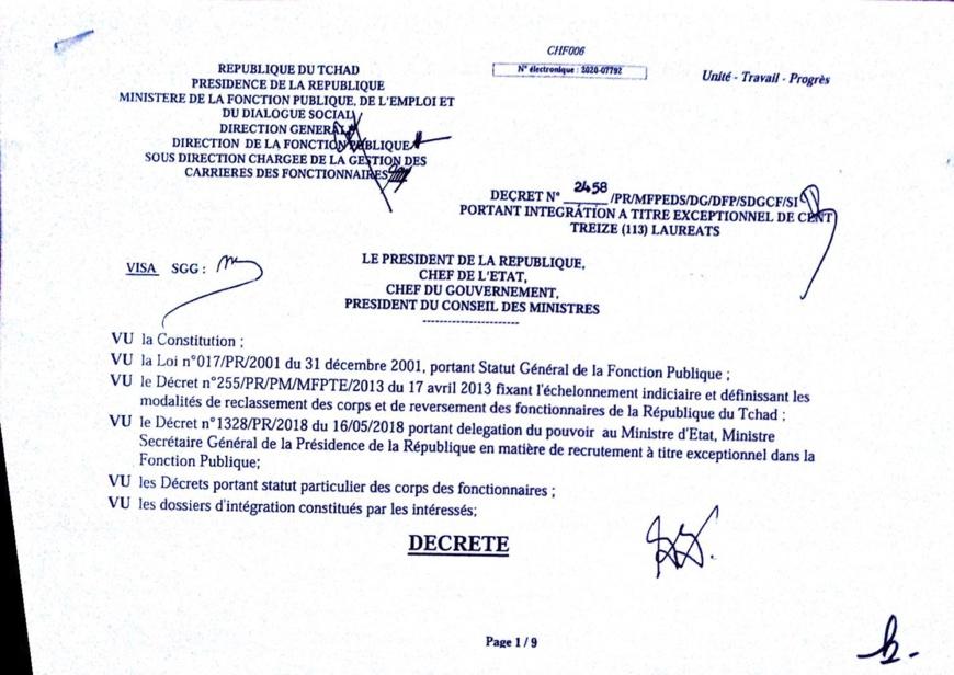 Tchad : liste d'intégrations à la Fonction publique