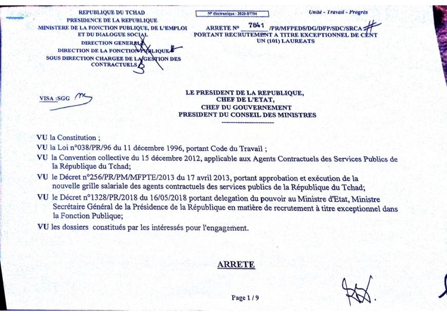 Tchad : liste de 101 lauréats intégrés par arrêté ministériel