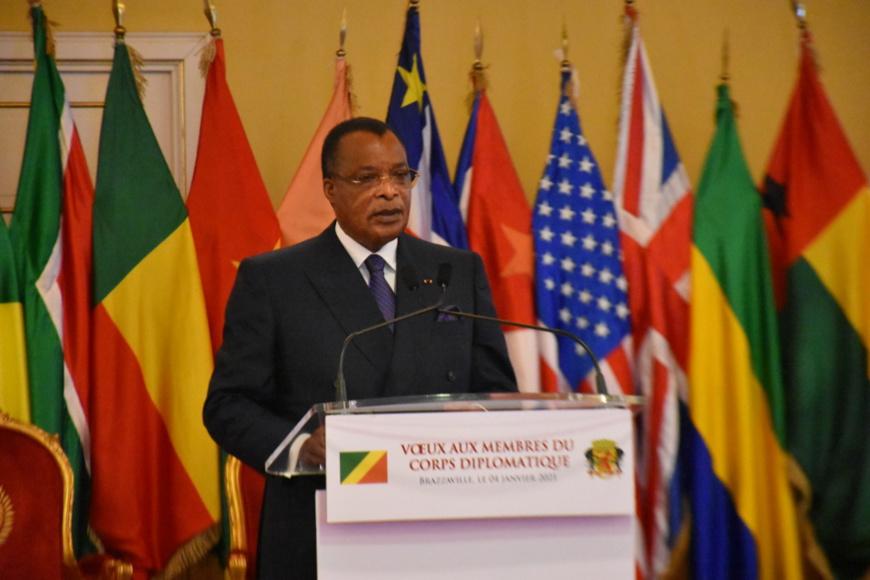 Denis Sassou N'Guesso répondant aux corps diplomatique.