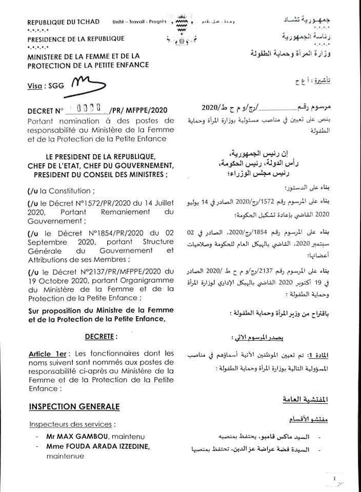 Tchad : 35 nominations au ministère de la Femme (26 nouveaux postes)