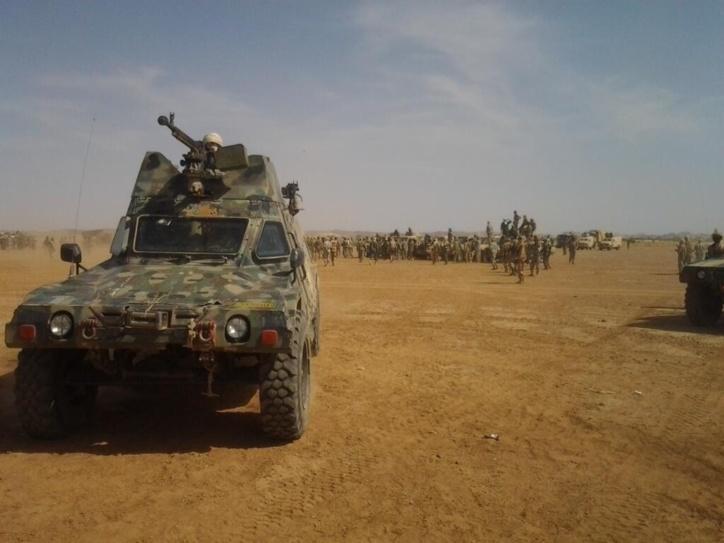 L'armée tchadienne en plein désert malien. Crédits photos : Abdelnasser Gorboa